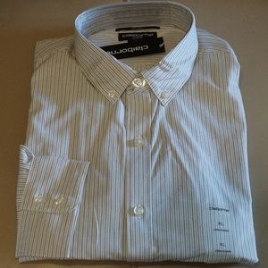 Claiborne - Slim-Fit Shirt (White w/Blk stripes)